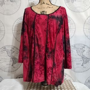 Dress Barn Red Floral Tunic Style Top 2x